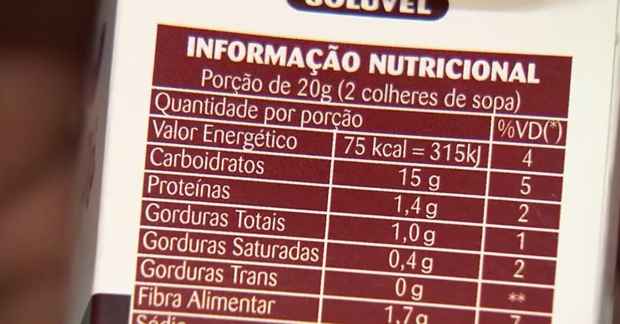 informação nutricional de produtos de alimentos